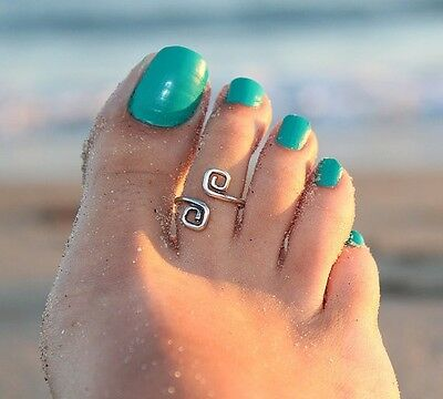 Women's/Girls Vintage Antique/Retro Silver Adjustable 'Scroll' Toe Ring/Band