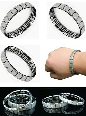 Mens/Womens Germanium Stone Titanium Health/Relief Expandable Magnetic Bracelet