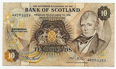 Bank Of Scotland Ten  Pound Banknote  14Th October 1983