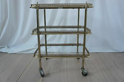 Vintage French Brass and Glass Desert/Drinks/Trolley