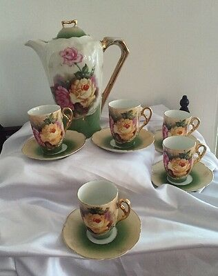 ANTIQUE German 12 PC SET CHOCOLATE POT CUPS AND SAUCERS ROSES GOLD