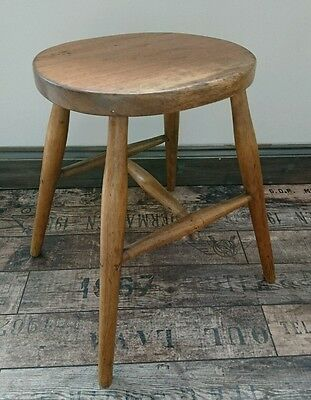 1950s Vintage Rustic Old Wooden stool Seat Chair Original Solid Kitchen charming