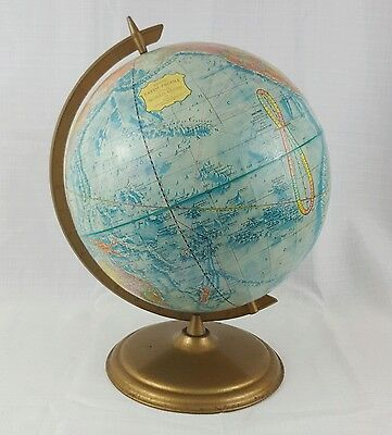 Vintage Blue Cram's Earth Profile World Globe Classic Raised Relief USSR No. 12