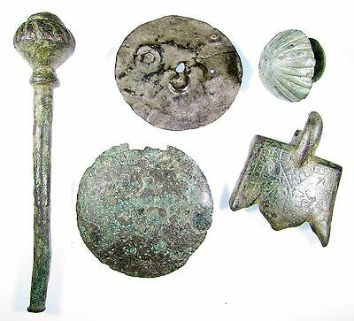 Rare Lot Of 5 Roman To Medieval Bronze Artifacts - 2064