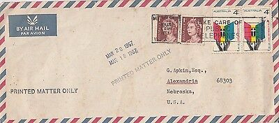 P 2170 Melbourne 1967 Printed Paper - unsealed - rate 10c airmail cover to  USA
