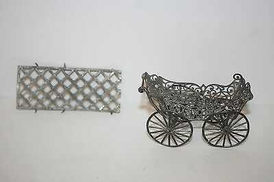 Antique Victorian Fairy Doll Furniture Metal Lead Carriage Buggy, Pram