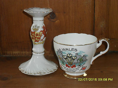 Souvenirs of Wales, vintage. Prince Charles and Wales china, candlestick and cup