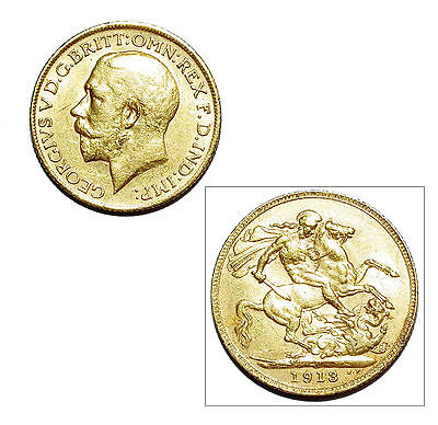 Pre-Owned 1913 Full Sovereign 22ct Gold Coin. King George V