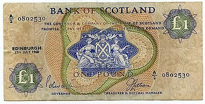 BANK OF SCOTLAND £1 One  POUND BANKNOTE  27TH JULY 1968