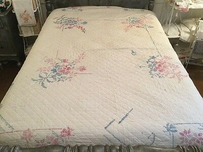 Vintage Quilt Pink And Blue Cross Stitch