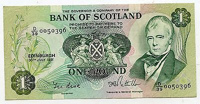 BANK OF SCOTLAND £1 One  POUND BANKNOTE  30TH JULY 1981