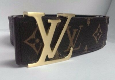 BRAND New Unisex LEATHER BROWN GOLD Buckle Belt FREE POSTAGE