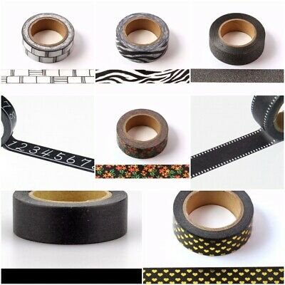 Black and Gold And Silver Foil Washi Tapes Premium 15mm x 10metres FREE UK PP