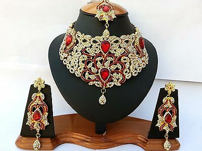 Indian Jewellery Set Delicate Style Gold Plated Red Clear Stone New Aq/01