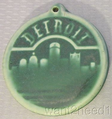 """handcrafted Art PEWABIC POTTERY DETROIT ORNAMENT 3"""" round tile city green"""