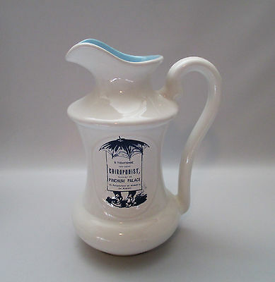 """Beauceware Pioneer Prints Pitcher Large 8"""" Blue White Advertising Beauce Canada"""