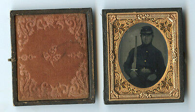 Civil War Soldier W/ Sword In Case Ruby Ambrotype