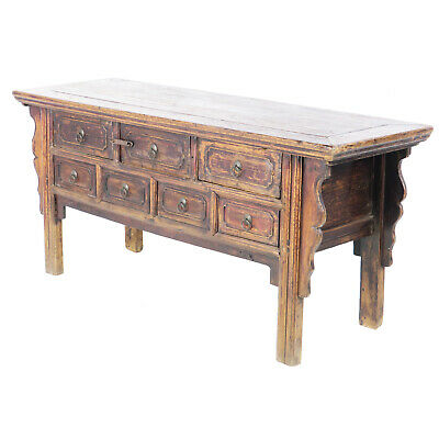 """Antique Chinese 68"""" Long Elm 7 Drawer Sideboard Console Buffet Table Cabinet"""