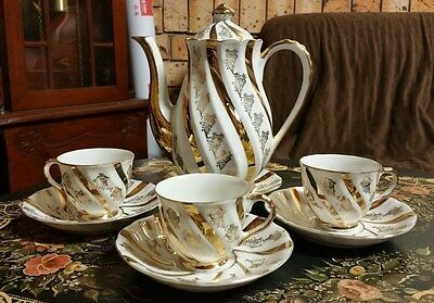 Vintage Beautiful Heavily Gold Gilded Coffee Pot With 3 Cups & 4 Saucers