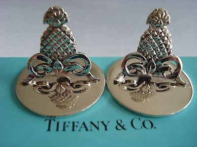 TIFFANY sterling silver ~ SET OF 2  PINEAPPLE PLACE CARD HOLDERS ~ FABULOUS!