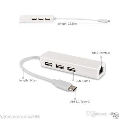 USB-C USB 3.1 Type C to USB HUB With RJ45 Ethernet Lan Adapter For 2015 Macbook