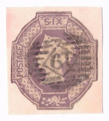 Great Britain Embossed 6d Six Pence Stamp Lilac Nice SG 59 Used 1847-54 Unhinged
