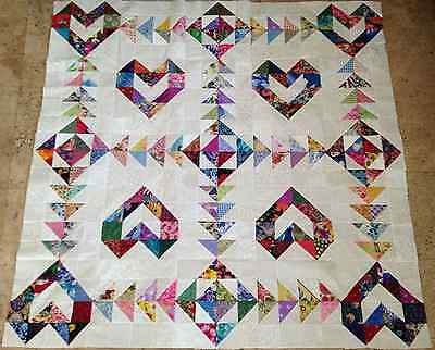Scrappy HEARTS  Quilt Top  made in USA 100% Cotton Fabrics