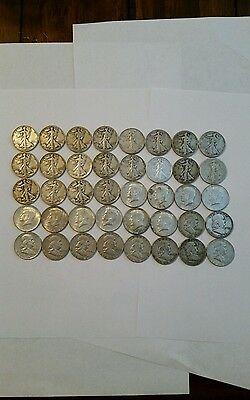 $ 20 Face Us Half Dollars 90% Silver Coin Lot, 40 Coins in Total