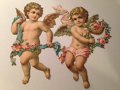 2 Antique Christmas Angel Scraps From A Victorian Scrapbook