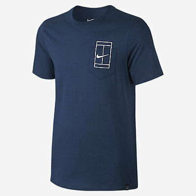 Nike Court Top 1 100% cotton tee - blue adult large