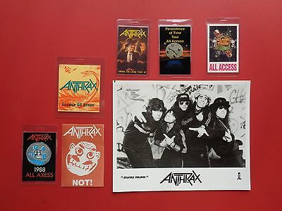 ANTHRAX,promo photo,6 different Backstage passes,RARE Originals,Various Tours