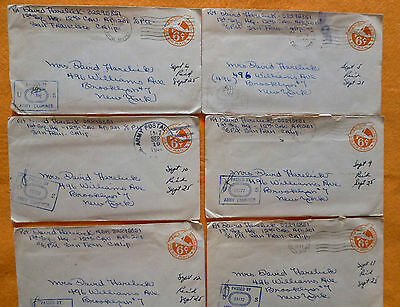 Lot of 6 WW II  Soilder Love Letters  with Censored Stamps (lot-F)