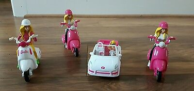 barbie on scooter/car