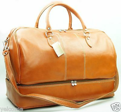 Genuine Italian Leather Duffle Weekend Overnight Travel Gym Bag Holdall Luggage