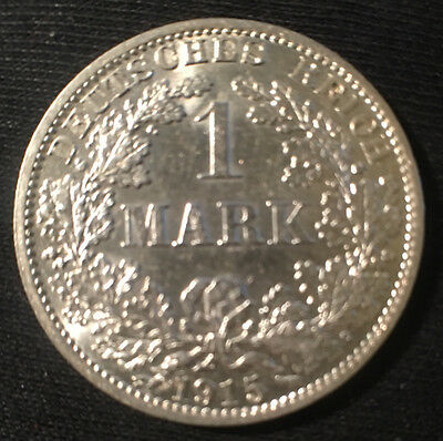 1915-A Germany 1 Mark Silver Coin