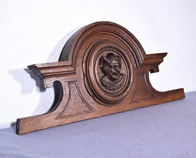 "*29"" French Antique Pediment/Crest in Oak Wood with Jester's Face"