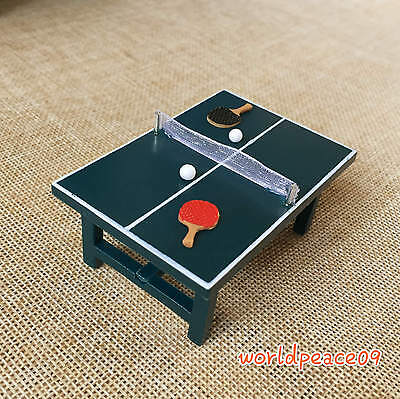Dollhouse Miniature Ping-Pong Table Table Tennis Table Bat Ball 1:24 Scale Model
