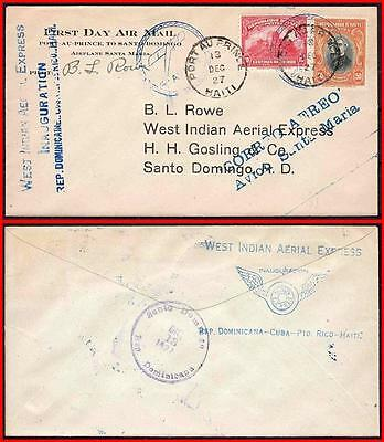 HAITI 1927 FIRST FLIGHT COVER to WEST INDIES w/B.L.ROWE AUTOGRAPH   (K-J18)