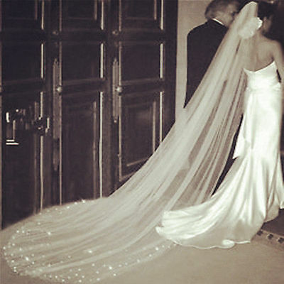 Cathedral Length Wedding Veil Crystal 1 Layer Simple Bridal Accessories Veils