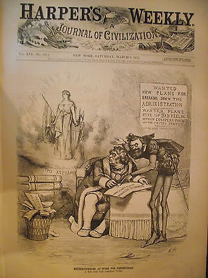 HARPER'S WEEKLY NEWSPAPER~ HUNTING WITH CHEETAHS~ MAR 9th 1872
