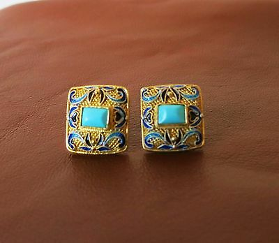 Rare Vintage Chinese  Export Sterling Vermeil Enamel Turquoise Post Earrings