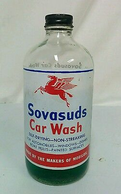"Antique Vintage Mobil Sovasuds Car Wash Advertising Bottle""Near full"" 1966"