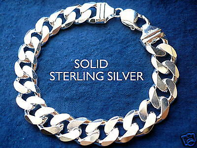 "13MM 925 STERLING SILVER MEN'S CUBAN LINK BRACELET choice of length 8""9"""