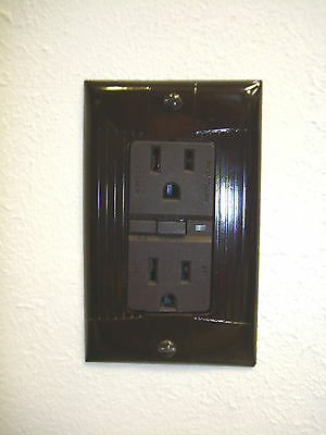Vintage Uniline Brown Decora GFCI Switch Outlet Cover Plate Eagle Ribbed