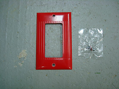 Vintage Uniline Red Decora GFCI Switch Outlet Cover Plate Sierra D-1 Ribbed