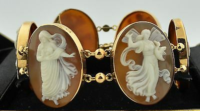 Victorian 6 Very Large Hand Carved Angel Shell Cameo's Set in 14K Yellow Gold Br