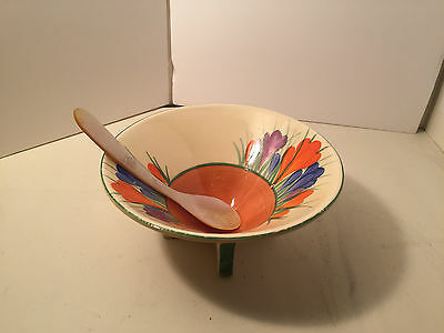 Clarice Cliff Ceramic Conical Bowl Crocus pattern with Mother of Pearl Spoon