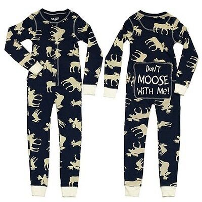 Lazy One Flapjacks Childrens Kid Don't Moose with Me Blue Cream PJ Pajamas