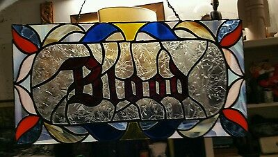 "Vintage Antique Gothic Leaded Stained Glass Church Sun Glass Window "" BLOOD """