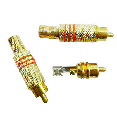 3PCS Gold BNC Plated RCA Plug Audio Male Connector Metal Spring for CCTV Cameras